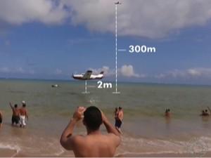 Segundo presidente do Aeroclube da Paraíba, aeronave chegou a voar a 2 metros da praia (Foto: Reprodução/TV Cabo Branco)