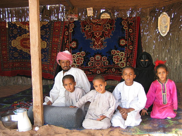 http://commons.wikimedia.org/wiki/File:Bedouin_family-Wahiba_Sands.jpg