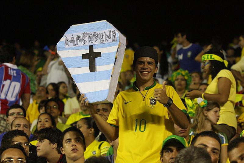 http://commons.wikimedia.org/wiki/File:Torcedor_do_Brasil_com_caixao_de_Maradona_(2009).jpg