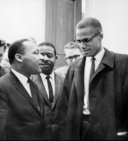 http://commons.wikimedia.org/wiki/File:MLK_and_Malcolm_X_USNWR_cropped.jpg