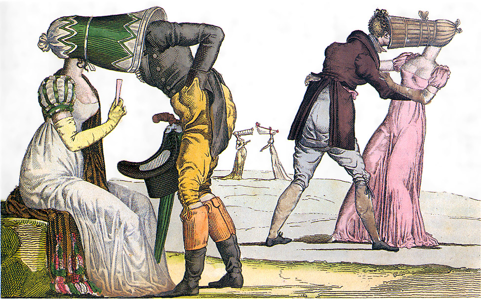 http://commons.wikimedia.org/wiki/File:Invisibles-Tete-a-Tete-poke-bonnet-satire-1810s.jpg