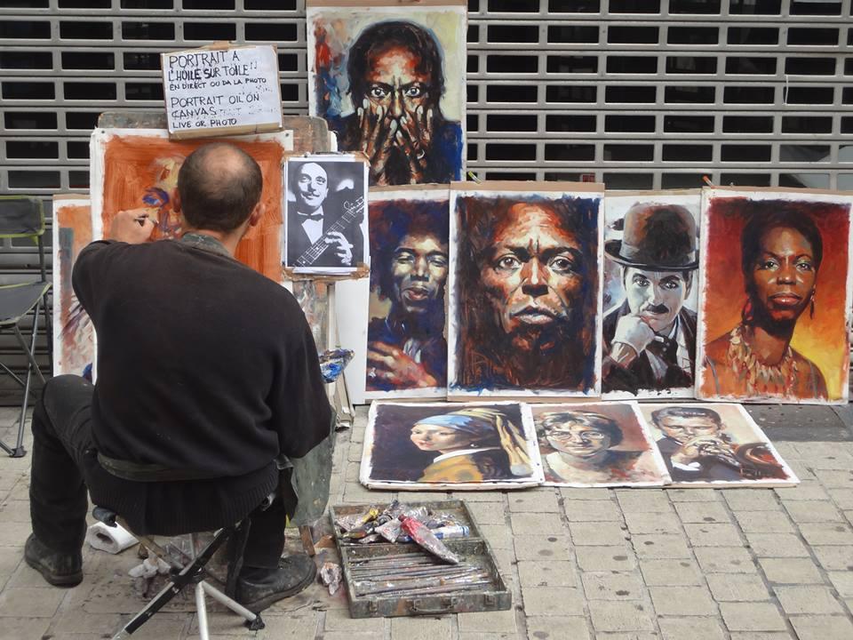 Portrait à l'huile sur toile à quelques mètres du Forum de Liège - crédit photo: @sk_serge