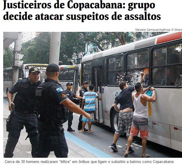 Capture d'écran d'un reportage de Folha de SP sur les justiciers de Rio de Janeiro