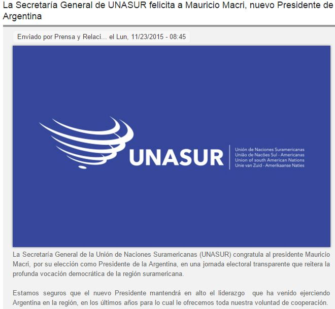 L'Unasur félicite le nouveau président élu en Argentine - capture d'écran.